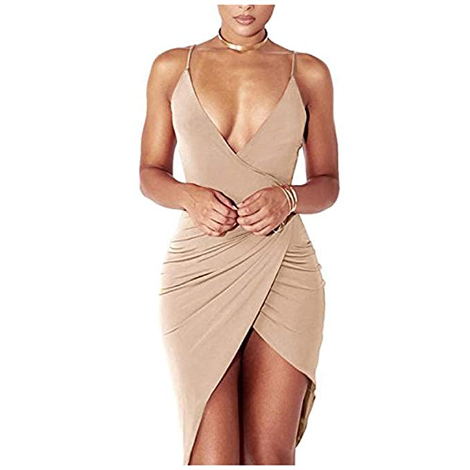 66f036972 DRESHOW Mujeres Sexy Cuello En V Profundo Sin Mangas Correa De Espagueti  Bodycon Wrap Vestido Frente Rajado del Vendaje Midi Club Vestido   Amazon.es  Ropa y ...