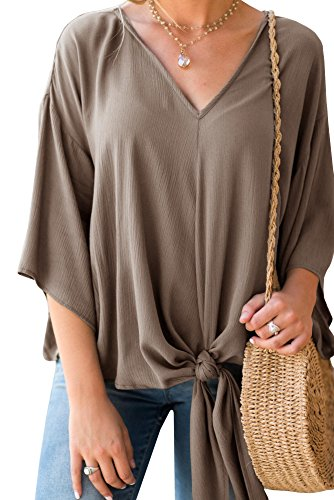 Dellytop Womens V Neck Tie Front Top 3/4 Sleeve Casual Loose Dolman Shirts ()