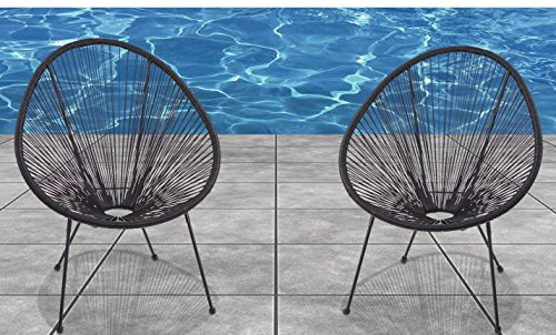 Acapulco Chair, All-Weather Wicker Indoor/Outdoor Round Lounge Chair Set of 2 By Modern Century Outdoor 51abna55o7L