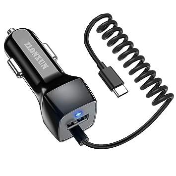 ZLONXUN Cargador de Coche con Cable Tipo C (3 pies) para ...