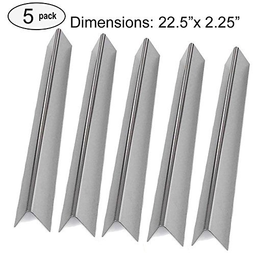 Aftermarket replacements 7536, 7537 Genesis Silver B and C, Spirit 700, Gold B & C, Genesis Platinum B & C and Weber 900 Stainless Steel Flavorizer Bars, Set of 5 (22.5'' long , 16 GA.)