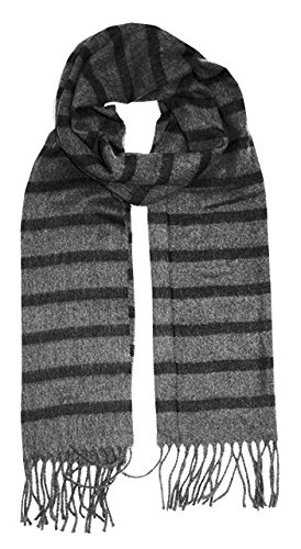 Geoffrey Beene Mens Scarf Made in Italy Grey Black Stripe by Geoffrey Beene