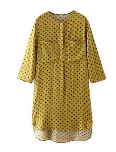 PU&PU Robe Aux femmes Ample Simple,Points Polka Col en V Au dessus du genou Polyester , yellow-m , yellow-m