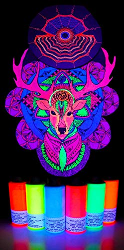 MAGIC NEON | UV Black Light Paint [6 Bottles 1.69oz/50ml Each] | Glow in Black Light Fluorescent Acrylic Fabric Textile Wall Paint Bright Neon Colors Party Supplies (6 x 1.69 oz)