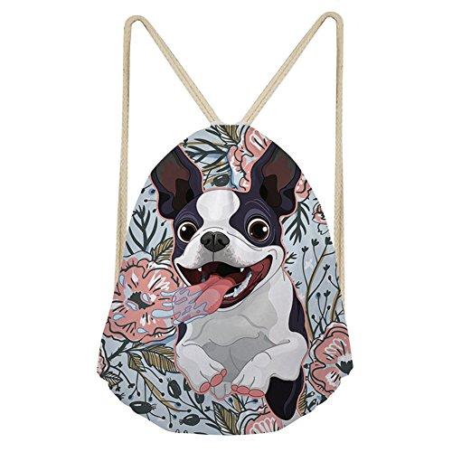 INSTANTARTS Athletic String Bag Goofy Boston Terrier Pattern Men Drawstring Backpack