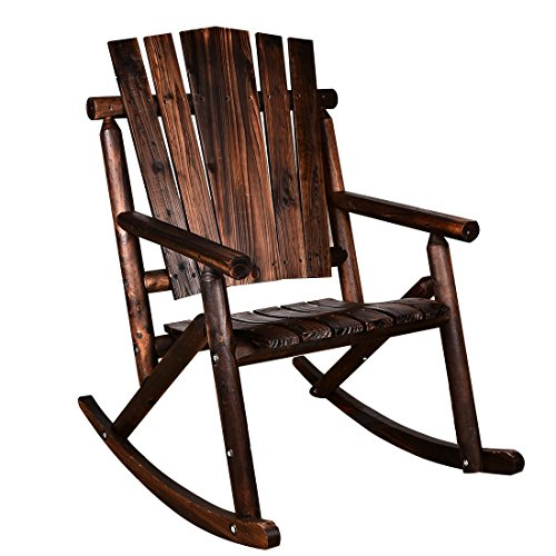 Wood Porch Rocker (MAGIC UNION Rocking Chair Single Porch Rocker Hardwood Rustic Large Space Patio Furniture)