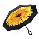 ALINK Inside Out Reverse Folding Umbrella, Large Double Layer Outdoor Rain & Sun Inverted Open & Close No Drip Umbrella