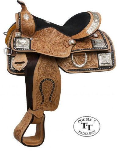 """Double T 13"""" Light Leather Silver Show Saddle Fully Tooled Youth Pony"""