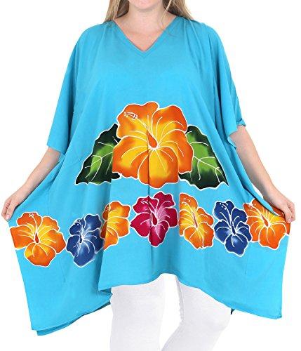 La Leela kimono chaise longue robe d'été beachwear bikini taille plus couverture de turquoise ups des femmes