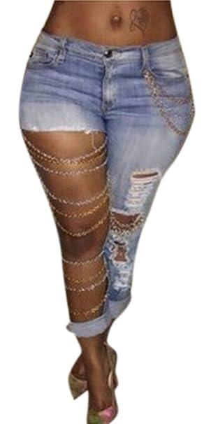 Amazon.com: garmoy Mujer Azul Claro Cadena de metal Mid Rise ...