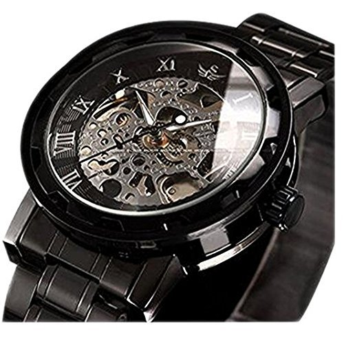 Watches,Men's Skeleton Mechnical Classic Hand-wind Movement Analog Display Watch With Link Bracelet - Movement Skeleton