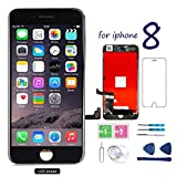 Screen Replacement for iPhone 8 Black 4.7 Inch LCD 3D Touch Screen Digitizer Display with Free Repair Tool Kits Compatible with A1863 A1905 A1906