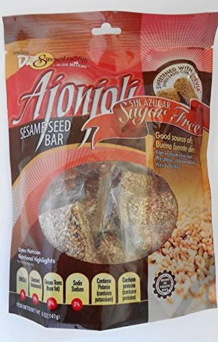 Ajonjoli Sesame Seed Bars, Sugar Free (Sin Azucar), sweetened with Stevia, 5 oz [141 g] (Sesame Seed Candy)