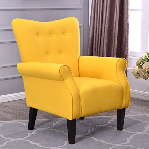 Belleze Modern Accent Chair Roll Arm Linen Living Room Bedroom Wood Leg (Citrine Yellow) (Wingback Yellow Chair)