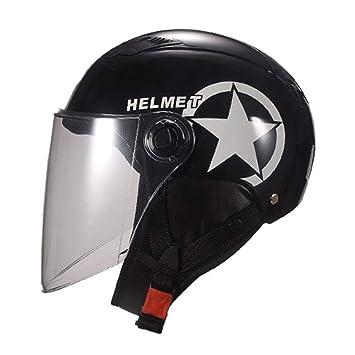 FORYOURS Casco Moto, Intercomunicador Casco Moto, Negro Mate para Scooter Chopper, Casco para
