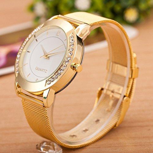 Uhren El reloj LOrologio women Mode Femmes Cristal dor en acier inoxydable