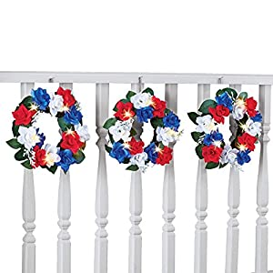 Set of 3 Patriotic Rose Floral Wreaths 4th of July Outdoor Decoration with Solar Lights 23