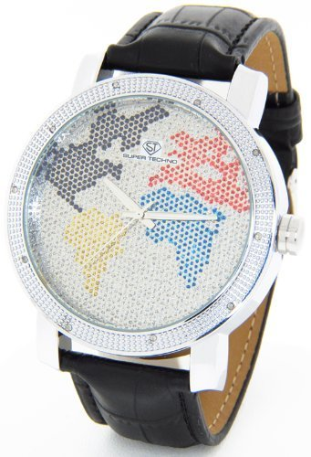 Mens Super Techno Diamond Watch by Joe Rodeo Genuine Diamond Watch World Map Oversized Silver Case Leather Band w/ 2 Interchangeable Watch Bands #MM-6033