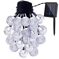 Solar String Lights, KEEDA 30 LED Crystal Ball Globe Fairy Patio Lights for Outdoor Garden (White)