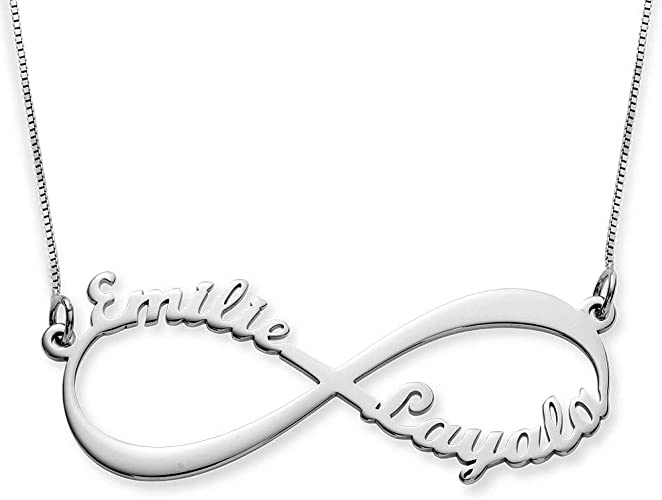 """14k White Gold Infinity /""""Love/"""" Script Necklace with Diamonds Unity Everlasting"""