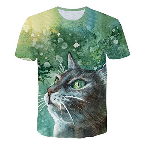 (JJLIKER Mens 3D Cat Print Short Sleeve T-Shirt Crewneck Tops Funny Graphic Printed Tees Casual Sport Large Size S-5XL Green)