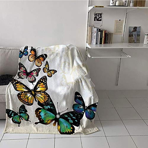 - Khaki home Children's Blanket Throw Lightweight Thermal Blankets (35 by 60 Inch,Butterfly Decor,Monarch Butterflies Shades and Shadows Ombre Background,Blue Pink Green and Yellow