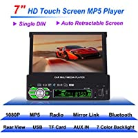 Boyiya Vehicle DVD player, Single 1 Din 7 Inch Flip Car Stereo Radio Player Touch Screen USB SD, Built-In Angle Adjustment Built-In Bluetooth For Hands-Free Calling And Audio Streaming
