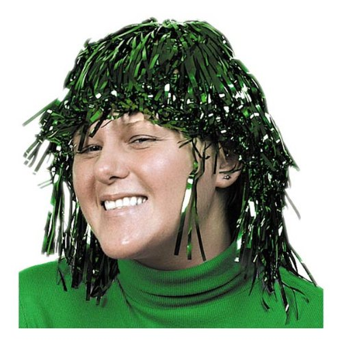 Adult Size Green Foil Tinsel Wig (Green Tinsel Wig)
