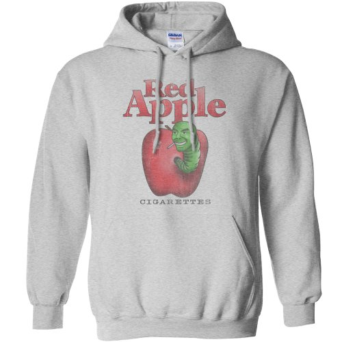 Mens Hoodie - Red Apple Cigarettes - Sport Grey - Large (Red Cigarettes Apple)