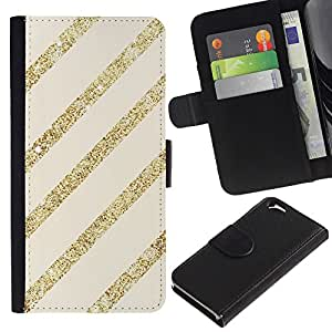 All Phone Most Case / Oferta Especial Cáscara Funda de cuero Monedero Cubierta de proteccion Caso / Wallet Case for Apple Iphone 6 // Gold Lines Stripes Parallel Beige Glitter