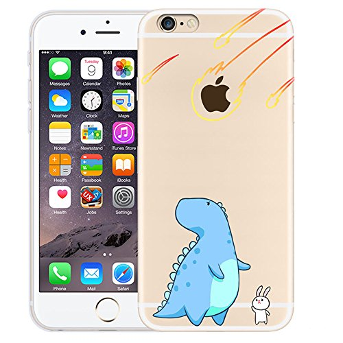 Custodia iPhone 6 Plus / iPhone 6S Plus , LH Dinosauri Blu Creativo TPU Trasparente Silicone Cristallo Morbido Case Cover Custodie per Apple iPhone 6 Plus / iPhone 6S Plus 5.5