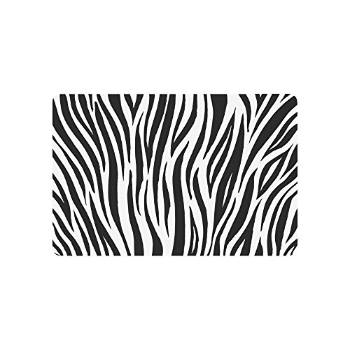 InterestPrint Zebra Print Animal Skin Abstract Lines Doormat Non-Slip Indoor and Outdoor Door Mat Rug Home Decor, Entrance Rug Floor Mats Rubber Backing, 23.6