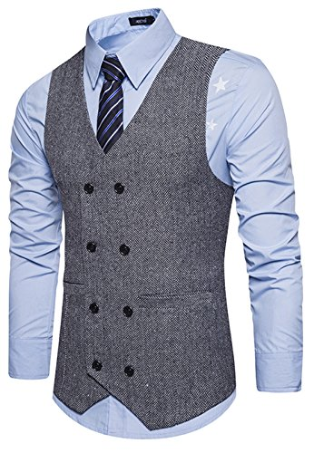 WHATLEES Mens Vintage Slim Fit Double-Breasted Solid Suit Vest B729-Gray-M by WHATLEES