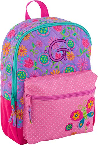 - Monogrammed Me All Over Print Quilted Rucksack, Purple Butterfly, with Embroidered Kids Monogram G