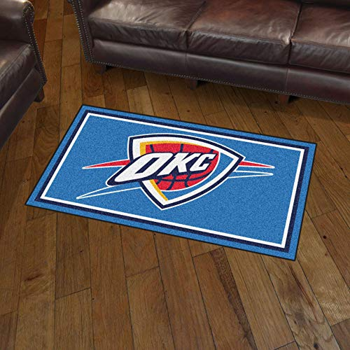 FANMATS NBA Oklahoma City Thunder 3 Ft. x 5 Ft. Area RUG3 Ft. x 5 Ft. Area Rug, Blue, 3' x 5' (Okc Rugs Area)