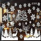 Christmas Decoration Window Stickers, Christmas Deer Snowflake Print Detachable Door Stickers Wallpaper Stickers