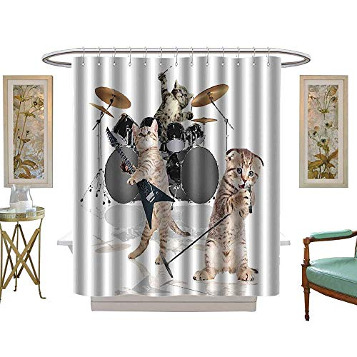 luvoluxhome Shower Curtains Sets Bathroom Animal Cool Fancy Hard Cute Rocker Band of Kittens with Singer W54 x L78 Fabric Bathroom Decor Set with ()
