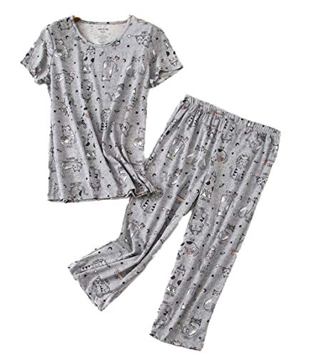 - Women's Short Sleeve Tops with Capri Pants Pajama Sets TZ001-Cat-2XL