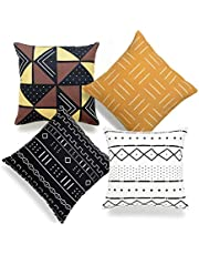 "Hofdeco African Mudcloth Cushion Cover ONLY, Mustard Yellow Dashes Black Natural White, Southwestern Tribal Brown Yellow, 18""x18"", Set of 4"
