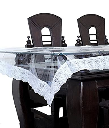 Kuber Industries PVC 6 Seater Transparent Dining Table Cover - Silver Table Cloths at amazon