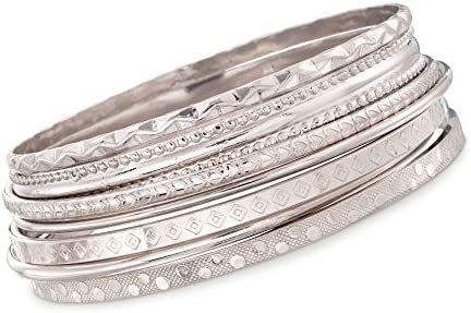 Ross-Simons Italian Sterling Silver Jewelry Set: 7 Assorted Texture Bangle Bracelets