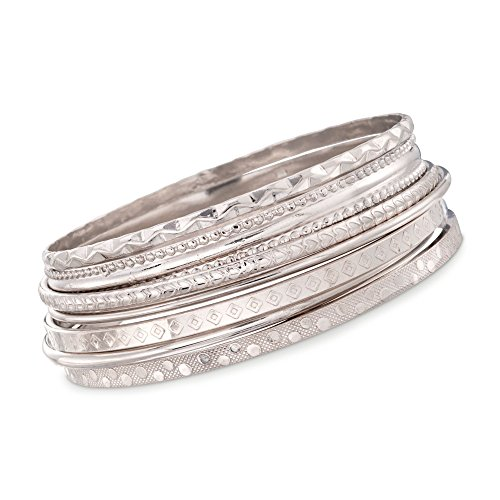 Ross-Simons Italian Sterling Silver Jewelry Set: Seven Assorted Texture Bangle Bracelets