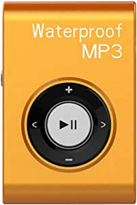 GZCRDZ IPX8 Waterproof Swimming MP3 Player Built-in 8GB MP3 Music with FM Radio Hi-Fi Headphone for Diving Surf Underwater Sports Running (Yellow)