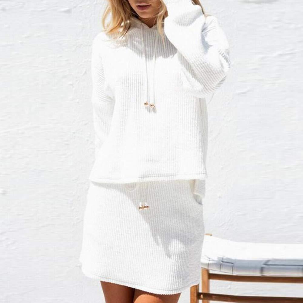 Ansenesna Bekleidungssets Damen Herbst Winter Strick Weiss Elegant Freizeitanzug Outfit Langarm Kapuze Hoodie und Rock