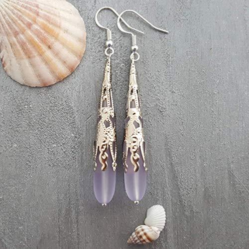Purple Glass Teardrop Earrings - Handmade in Hawaii, Long TearDrop