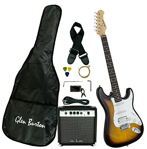 Burton Amp Pack (Glen Burton GE101BCO-TS  Electric Guitar Stratocaster-Style Combo with Accessories and Amplifier, Tobaccoburst)