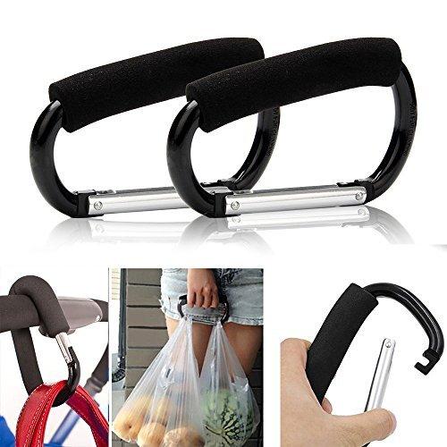 2pcs Strong Large Durable Buggy Carabiner Stroller Hooks Mummy Clip Pram Pushchair Grocery or Diaper Bags Holder - 14cm (5.5