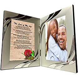 Love of My Life Gift, Sentimental Poem in 4 x 6 Inch Silver Double Picture Frame for Soulmate's Birthday, Christmas,Valentines, Wedding or Anniversary Present Add Your Own Photo by Words Matter Gifts