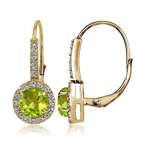 Yellow Gold Flashed Sterling Silver Genuine, Created or Simulated Gemstone and Cubic Zirconia Accents Round Leverback Earrings