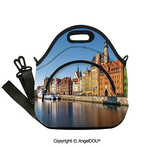 AngelDOU Cityscape Reusable Insulated Lunch Bags with Pocket Riverside View in Old Town Early Morning Light Retro Cityscape Medieval European for Students Office Worker.12.6x12.6x6.3(inch) - Medieval Twelve Light